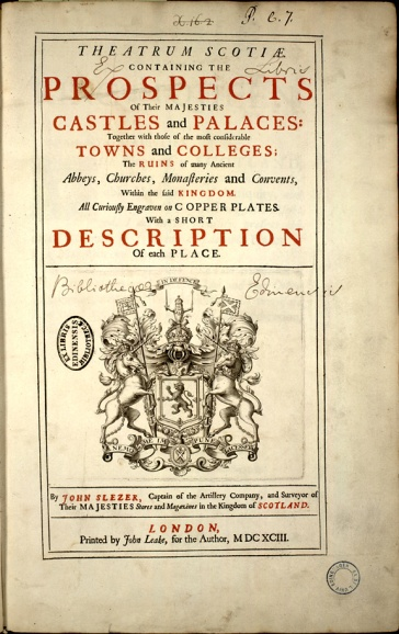 Title page from Theatrum Scotiae by John Slezer 1693.